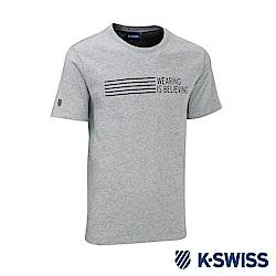 K-SWISS Wearing W/5 Stripe Tee印花短袖T恤-男-灰