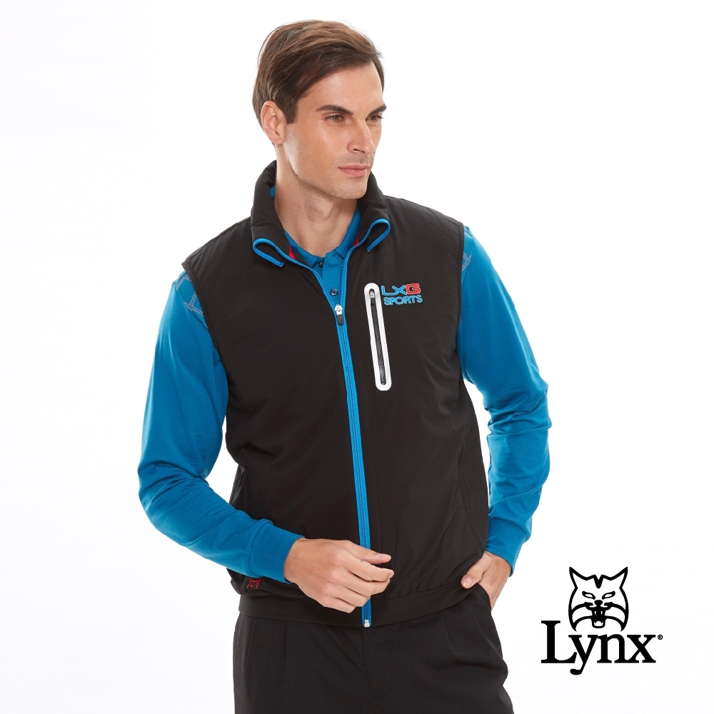 【Lynx Golf】男款防潑水LXG防水反光貼條胸袋無袖鋪棉背心-黑色