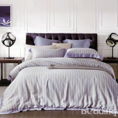 BEDDING-60支100%天絲-雙人薄床包鋪棉兩用被套四件組-伊莉娜-紫
