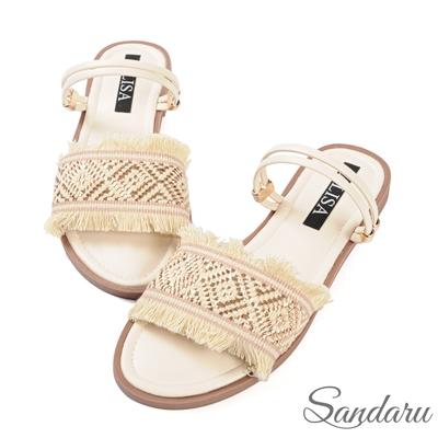 山打努SANDARU-涼鞋 波西米亞金線軟底兩穿涼鞋-米