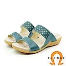 【GEORGE 喬治皮鞋】真牛皮革簡約雙帶設計拖鞋-藍