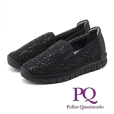 PQ 法式優雅玫瑰花鑲鑽直套式 女鞋 - 黑 (另有杏)