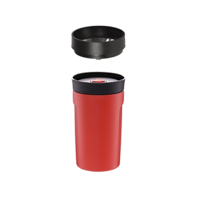【PO:Selected】丹麥360度飲用隨行保溫咖啡杯350ml(紅)-附濾網