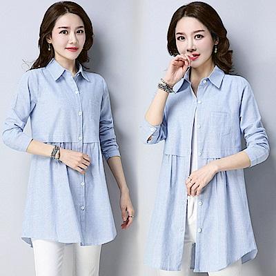 純色條紋襯衫-藍條(M-2XL可選)     NUMI  復古