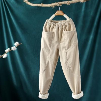 素色拼接鬆緊腰加絨燈芯絨寬鬆九分哈倫褲-設計所在