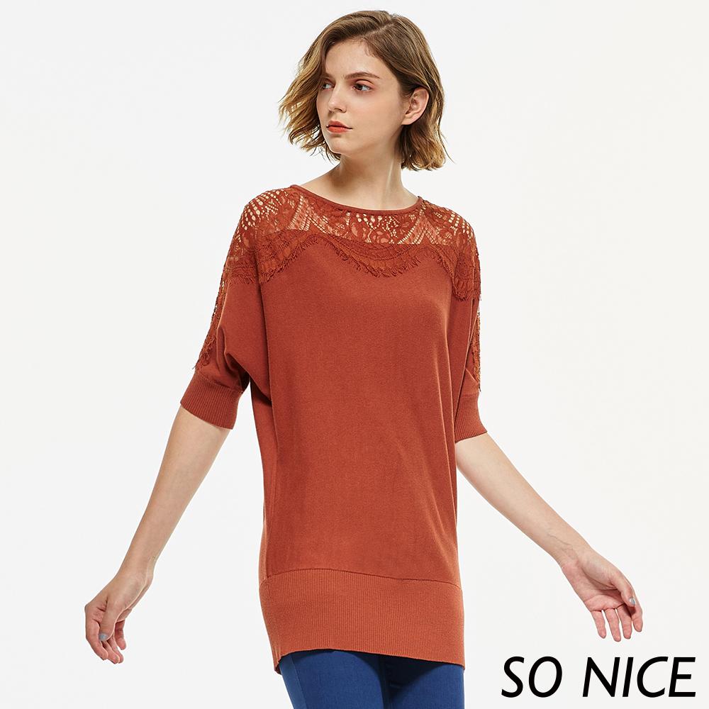 SO NICE優雅蕾絲拼接針織上衣