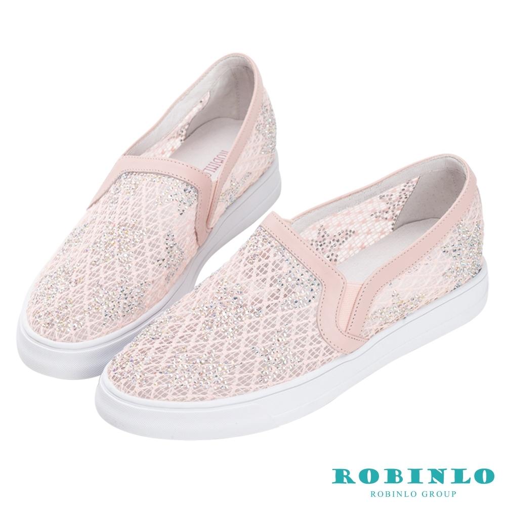 Robinlo 小清新楓葉鑲鑽休閒鞋 粉色