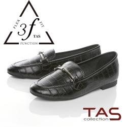 TAS一字金屬扣飾壓紋牛皮樂福鞋-低調黑