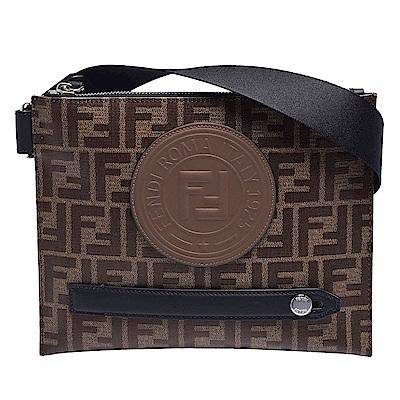 FENDI 經典品牌LOGO帆布包身牛皮飾邊拉鍊斜背包(棕X黑)