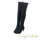 Pineapple Outfitter 擁有超模比例顯瘦高跟膝上長靴-黑色