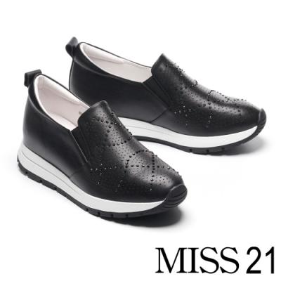 休閒鞋 MISS 21 率性時尚璀璨水鑽全真皮厚底休閒鞋-黑