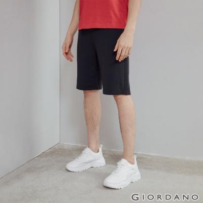 GIORDANO 男裝素色抽繩短褲 - 07 標誌黑