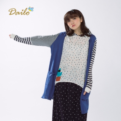 【Dailo】學院風V領條紋長版針織衫外套(二色)