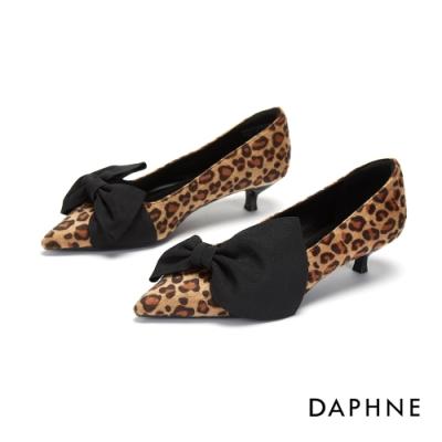 達芙妮DAPHNE  跟鞋-復古拚接結飾尖頭跟鞋-棕