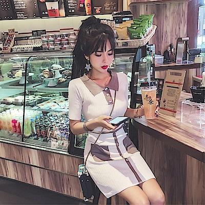 DABI 韓國風時尚休閒百搭針織時尚短袖洋裝