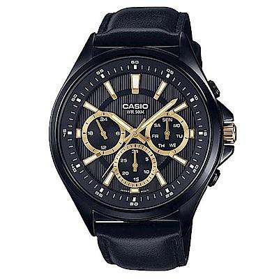 CASIO 經典黑三針三眼皮帶腕錶(MTP-E303BL-1)-金時刻/47.5mm