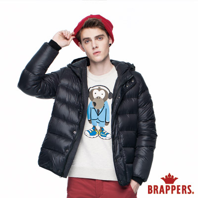 BRAPPERS 男款 滾邊連帽羽絨外套-黑