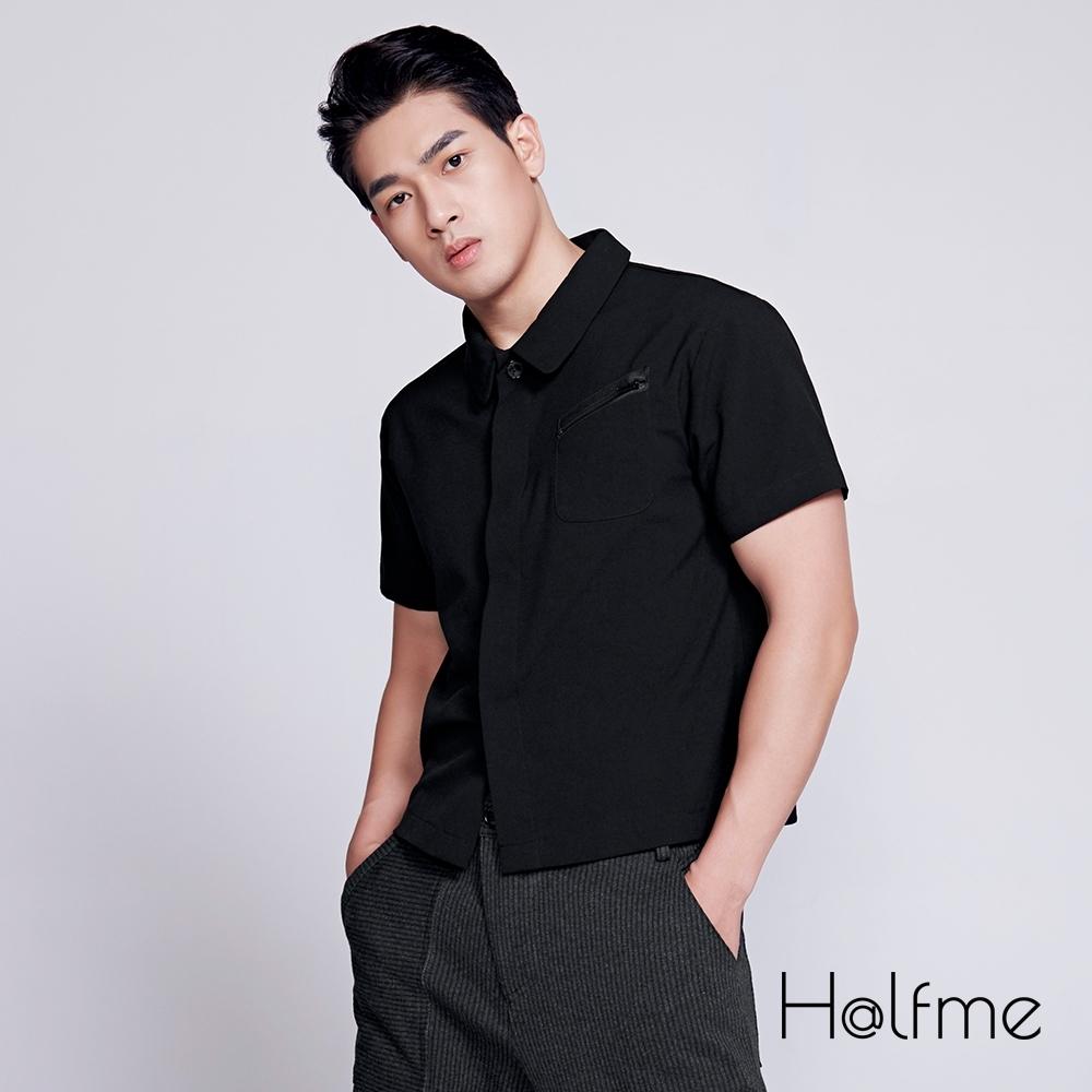 Halfme-暗門襟斜拉鍊前袋設計短袖襯衫-男