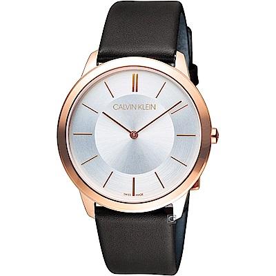 CK Calvin Klein Minimal 俐落時尚腕錶-玫瑰金色/40mm