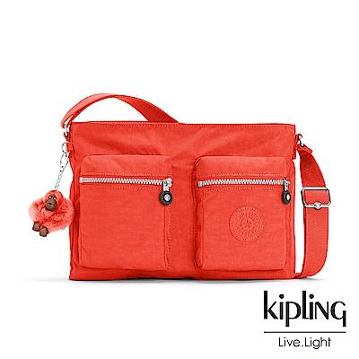 Kipling 亮橘色素面側背包-CORALIE