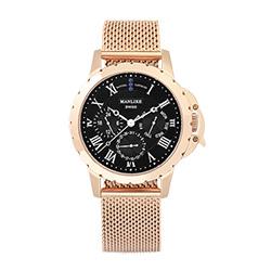 Manlike 曼莉萊克 藍寶石多功能三眼腕錶 玫瑰金色 黑面 米蘭帶