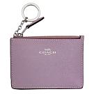 COACH芋紫色防刮皮革後卡夾鑰匙零錢包
