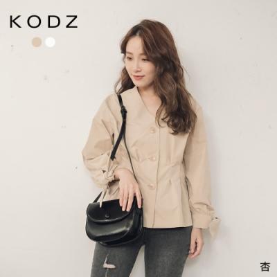 東京著衣-KODZ 韓系歐膩收腰打褶排釦V領上衣(共二色)