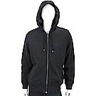 BURBERRY 格紋細節黑色平織連帽開襟運動衫