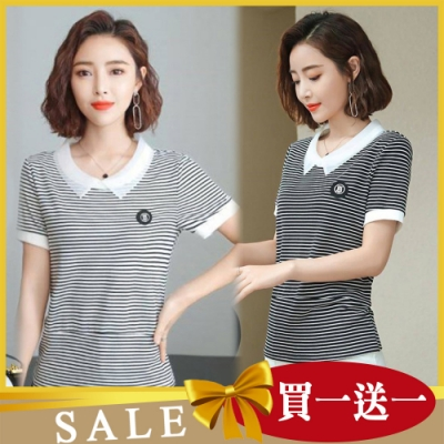 【韓國K.W.】(預購) 獨家限量買一送一 送同款輕柔清條紋上衣
