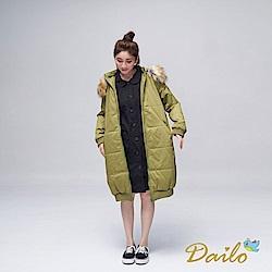 Dailo INLook繭型舒適保暖長版厚外套(綠)