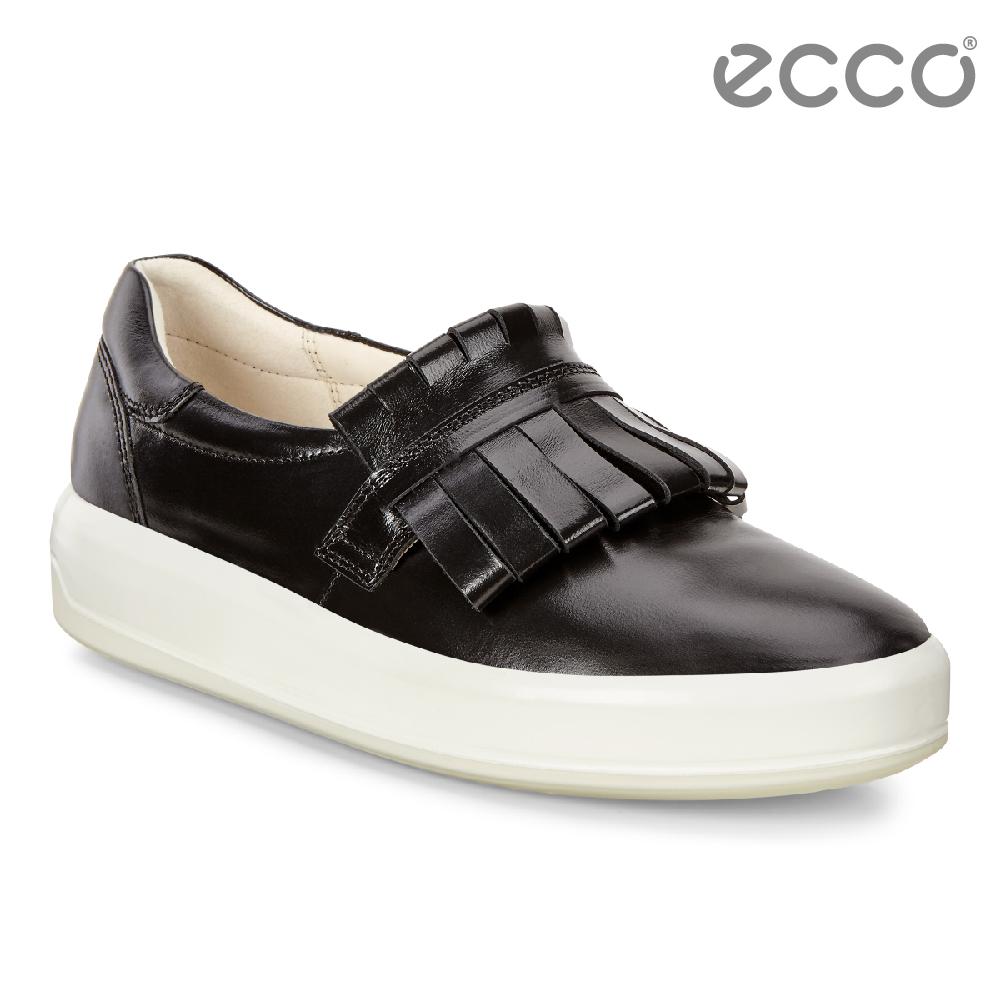 ECCO SOFT 9 時尚大流蘇套入式休閒鞋 女-黑