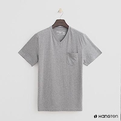 Hang Ten - 男裝 - 有機棉-小口袋V領素面T恤 - 灰