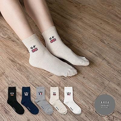 阿華有事嗎韓國襪子簡約英文國旗中筒襪韓妞必備長襪正韓百搭純棉襪