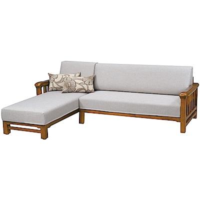 綠活居 尼森亞麻布實木L型沙發椅(二向可選)-255x180x94cm免組