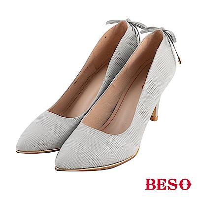 BESO 危險曲線 蝴蝶結綁帶高跟鞋~灰