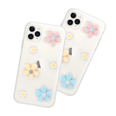 iPhone 11 Pro 滴膠閃粉 小花 透明 手機殼 軟殼 (iPhone11Pro手機殼 iPhone11Pro保護殼 )