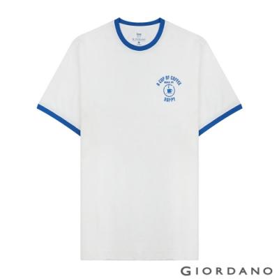 GIORDANO 男裝純棉復古刺繡印花寬版T恤-36 皎雪