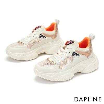 達芙妮DAPHNE 休閒鞋-異材質網布綁帶厚底運動休閒鞋-米白