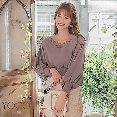 東京著衣-YOCO 溫柔女伶蕾絲雕花縮腰公主澎袖上衣-S.M.L(共兩色)