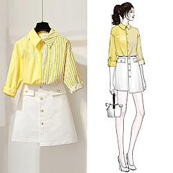 拼接條紋襯衫+裙子兩件式套裝