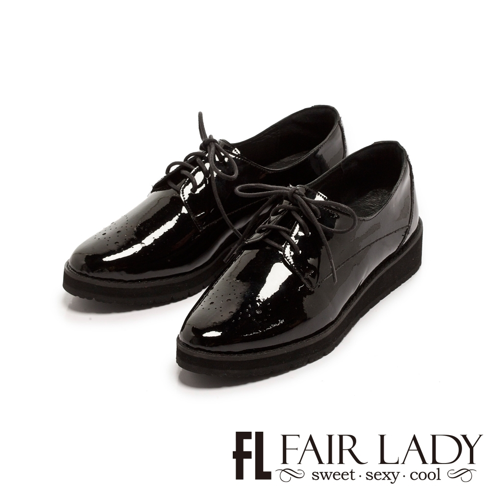 【FAIR LADY】沖孔雕花漆皮綁帶厚底牛津鞋 黑