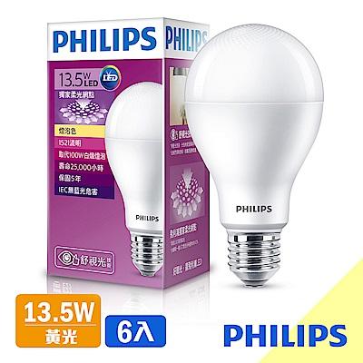 飛利浦 PHILIPS 第7代 舒視光 13.5W LED燈泡-黃光6入組(紫包)