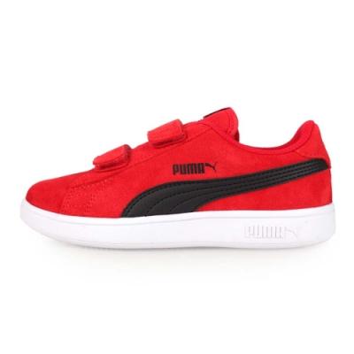 PUMA SMASH V2 SD V 男女童復古休閒鞋 紅黑