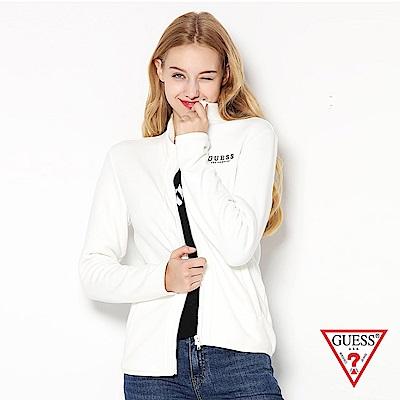 GUESS-女裝-純色簡約立領拉鍊外套-白
