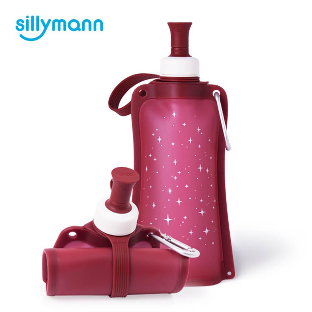 韓國sillymann-100%時尚便攜捲式鉑金矽膠水瓶-550ml-星空紅
