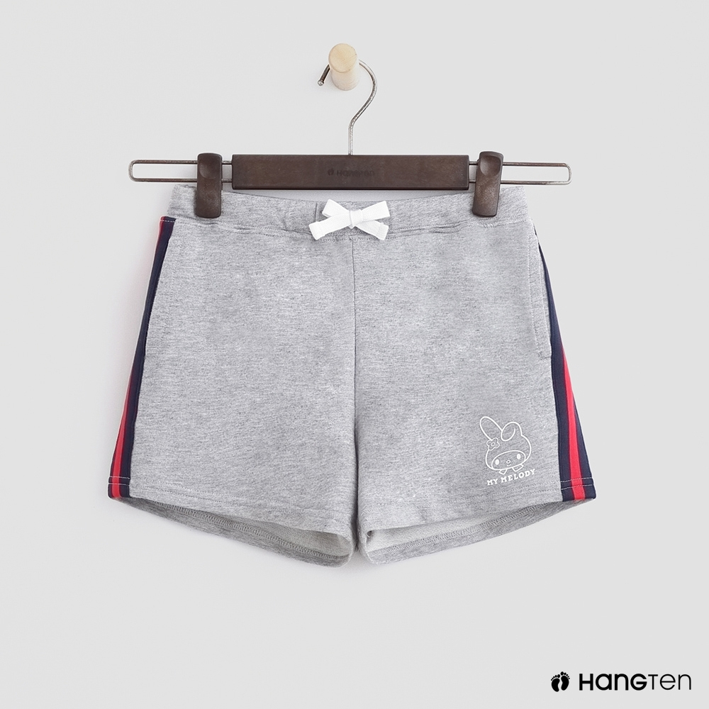 Hang Ten -童裝 - Sanrio-綁帶小logo條紋短褲 - 灰