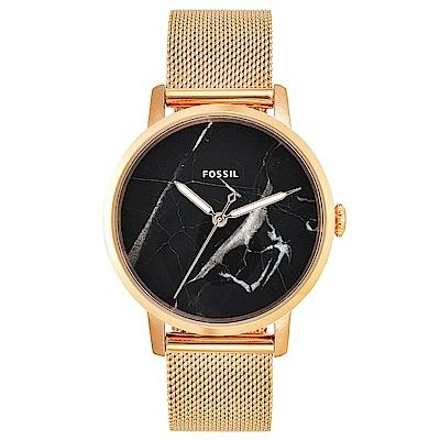 FOSSIL 北歐奢華風大理石紋米蘭帶女錶(ES4405)-黑色x34mm