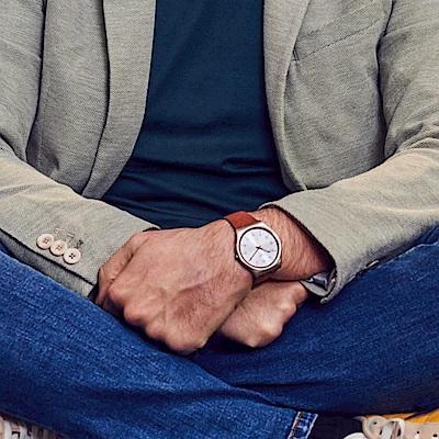 Swatch 超薄金屬手錶 SKIN SUIT BROWN-42mm