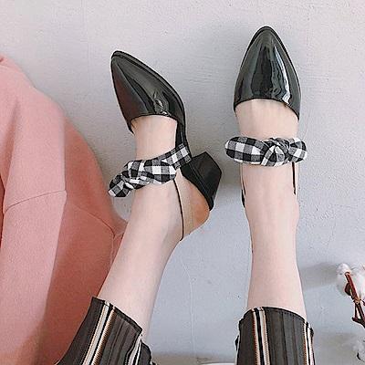 KEITH-WILL時尚鞋館 歡樂單品蝴蝶結造型尖頭粗跟鞋-黑色