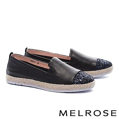 休閒鞋 MELROSE 異材質璀璨亮片拼接羊皮草編厚底休閒鞋-黑
